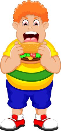 eating burger: Cartoon Fat Man eating Burger