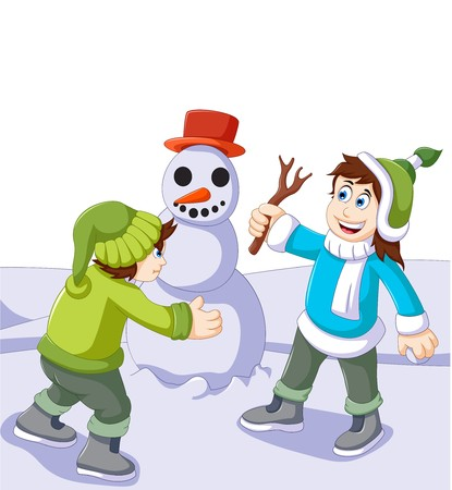 bambini che giocano: funny children cartoon playing with snowman in snow of winter Vettoriali