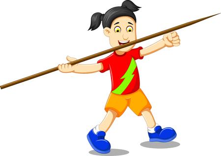 funny girl cartoon playing javelin Illustration