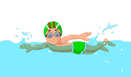 funny cartoon boy swimmer in the swimming pool Banco de Imagens - 65826751