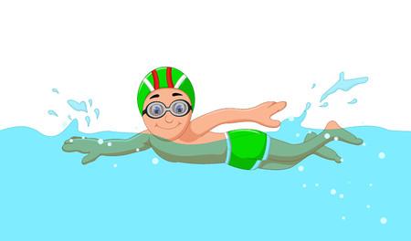 Grappige cartoon jongen zwemmer in het zwembad