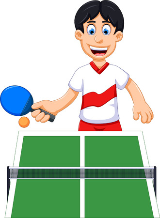 funny man cartoon playing table tennis Illustration