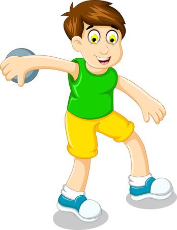 throwing: cute boy athlete doing discus throwing