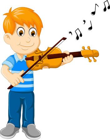 pretend: funny boy cartoon playing violin