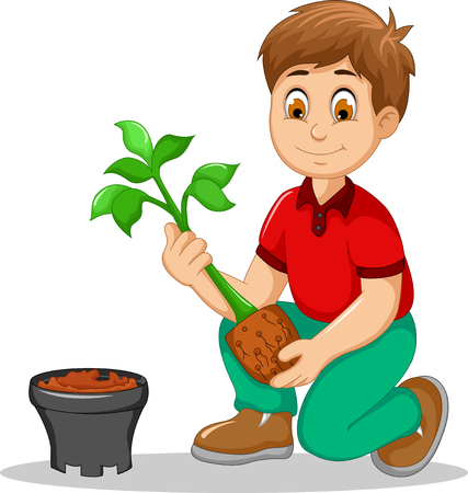 pot plant: cute men cartoon move plant from the poly bag to pot
