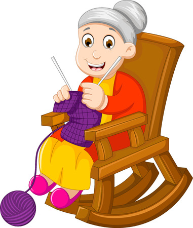 funny grandmother cartoon knitting in a rocking chair Ilustração