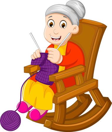 Zabawna babcia kreskówka dziania w kołysanie krzesło