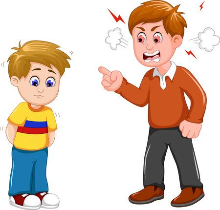 cartoon vader schelden zijn zoon