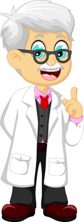 cute doctor cartoon pointing