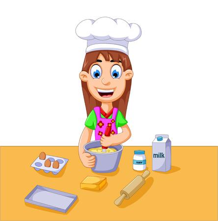 flour: funny cartoon girl making cake