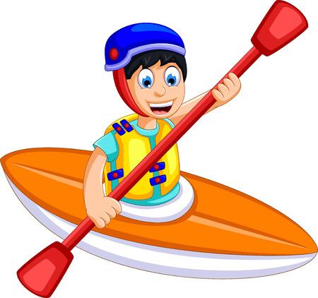 funny boy cartoon play rafting Illustration