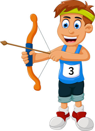 funny boy cartoon sports archery Illustration