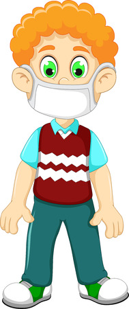 cute Boy cartoon wearing breath mask for protect a respiratory disease