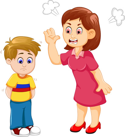 scold: cartoon Mather scolding her son