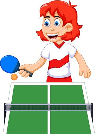 funny girl cartoon playing table tennis Illustration