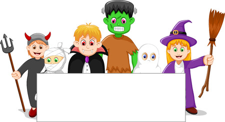 set of halloween character with blank sign