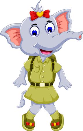 uniform green shoe: funny elephant cartoon wearing uniform