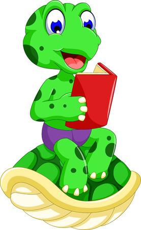 quack: funny frog cartoon reading book