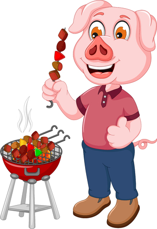 funny pig cartoon making satay Illustration