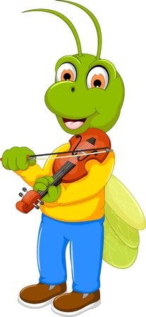 funny green grasshopper cartoon playing violin