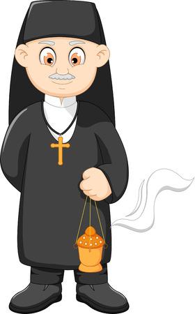 cartoon catholic priest Illustration