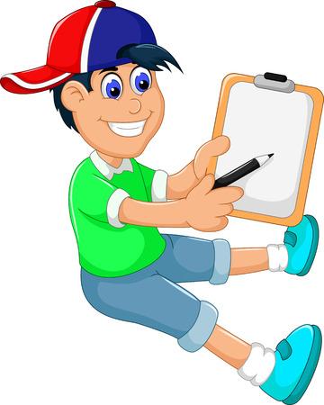 funny little boy cartoon showing his clip board Illustration