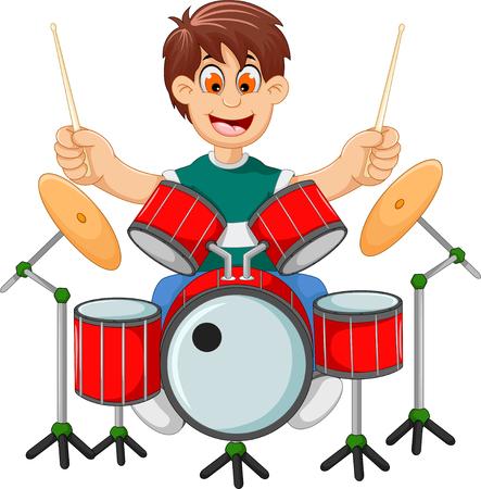 funny boy cartoon playing drum