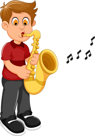 Zabawna chłopiec kreskówka gra trąbka