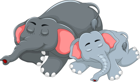 eater: cute elephant cartoon sleeping with her baby