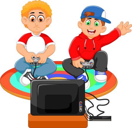 Grappige twee jongens die playstation spelen Stock Illustratie