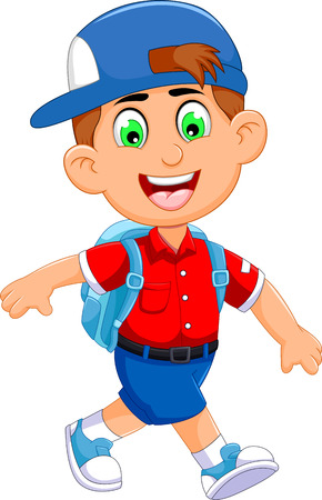 funny little boy cartoon going to picnic