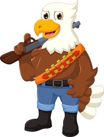 murder scene: funny eagle cartoon holding rifle Illustration