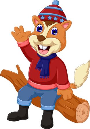 pinoli: Cartoon carino scoiattolo seduto sul legno
