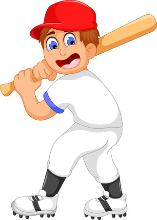 funny boy cartoon playing cricket Illustration
