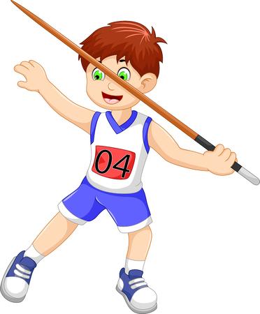 throwing: funny man athlete throwing a javelin