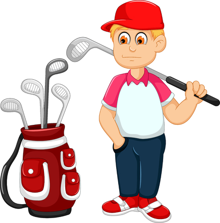 cute man cartoon playing golf for you design Illustration