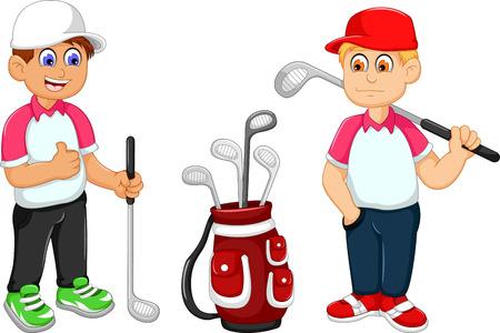 funny two man cartoon playing golf Illustration