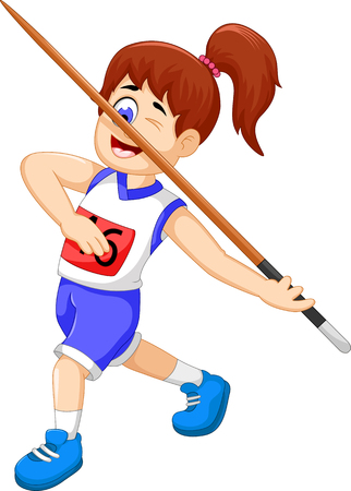 sports activity: funny woman athlete throwing a javelin