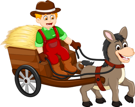 funny farmer cartoon carrying grass with horse drawn carriage Ilustrace
