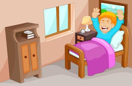 cute little boy cartoon wake up in the bedroom
