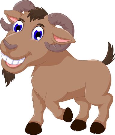 cute goat cartoon smiling look at camera Illustration
