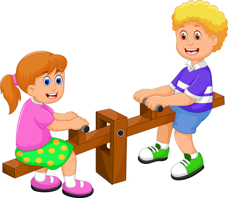 funny two kids cartoon playing see saw Illustration