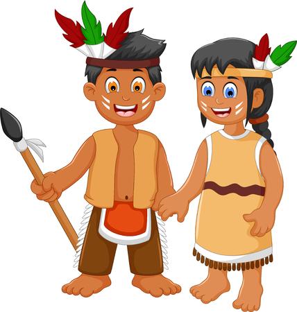 funny couple indian tribal cartoon Illustration