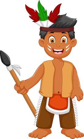 funny man indian tribal cartoon posing