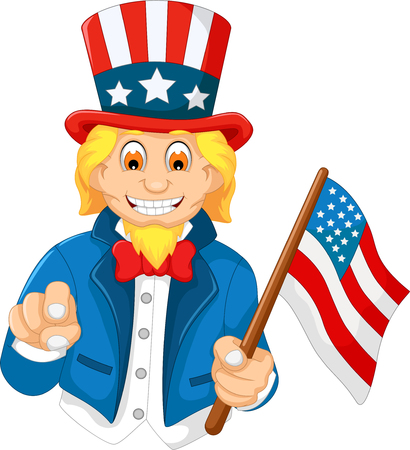 patriot act: funny American cartoon holding American flag Illustration