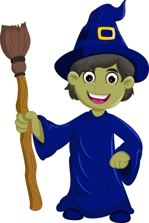 spells: Halloween ugly witch with a hat and broom
