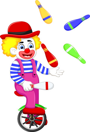 funny clown cartoon playing balls on bicycle
