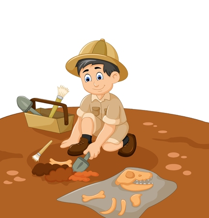 cute man Archaeologists cartoon searching fossil 免版税图像 - 73850755