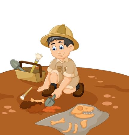 Niedlicher Mann Archäologen Karikatur suchen Fossil Standard-Bild - 73850755