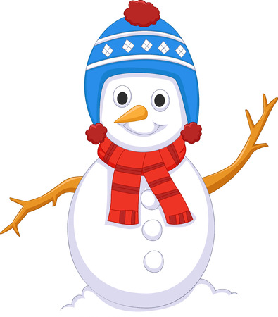 cute snowman cartoon wearing hat and shawl